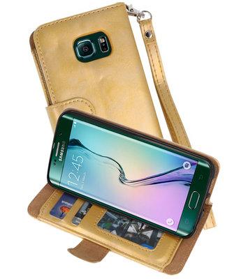 Goud Luxe Portemonnee Hoesje voor Samsung Galaxy S6 Edge