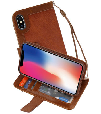Bruin Luxe Portemonnee Hoesje voor Apple iPhone X