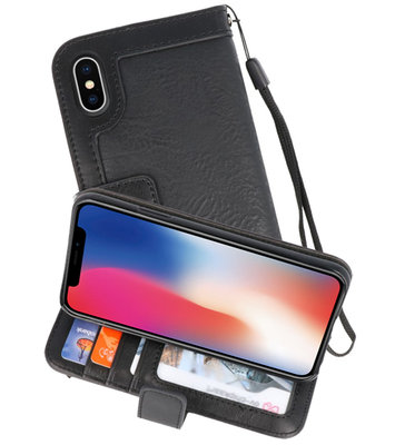 Zwart Luxe Portemonnee Hoesje voor Apple iPhone X