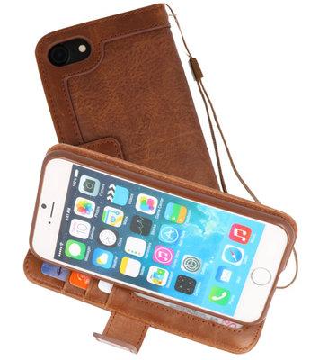 Bruin Luxe Portemonnee Hoesje voor Apple iPhone 7 / 8