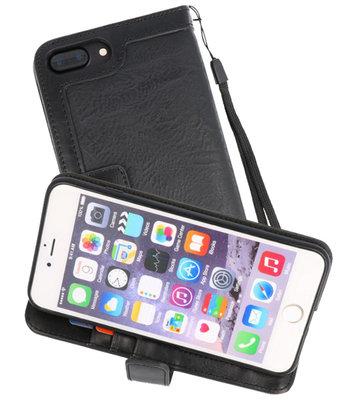 Zwart Luxe Portemonnee Hoesje voor Apple iPhone 7 Plus / 8 Plus