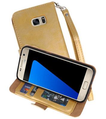 Goud Luxe Portemonnee Hoesje voor Samsung Galaxy S7 Edge