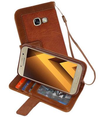 Bruin Luxe Portemonnee Hoesje voor Samsung Galaxy A3 2017