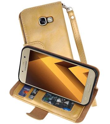 Goud Luxe Portemonnee Hoesje voor Samsung Galaxy A3 2017