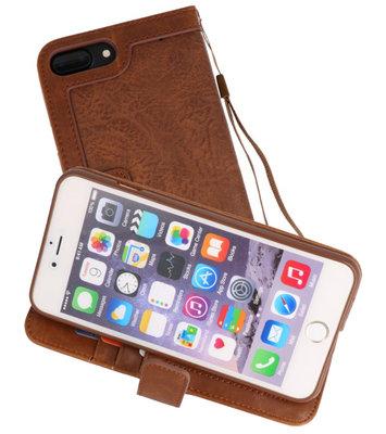Bruin Luxe Portemonnee Hoesje voor Apple iPhone 7 Plus / 8 Plus