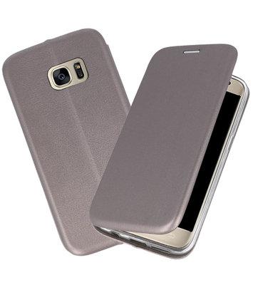Grijs Premium Folio Wallet Hoesje voor Samsung Galaxy S7