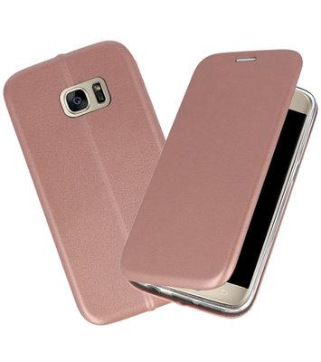 Roze Premium Folio Wallet Hoesje voor Samsung Galaxy S7