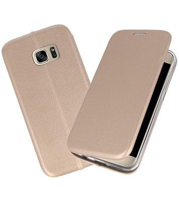 Goud Premium Folio Wallet Hoesje voor Samsung Galaxy S7