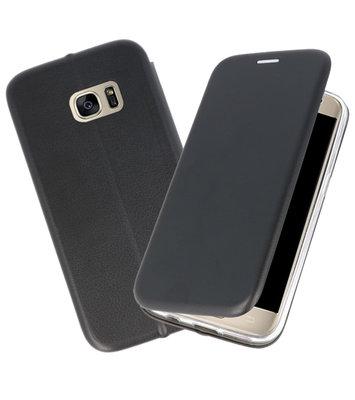 Zwart Premium Folio Wallet Hoesje voor Samsung Galaxy S7