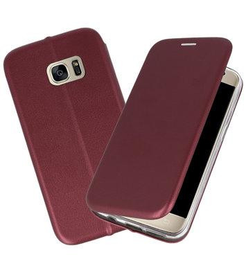 Wijn Rood Premium Folio Wallet Hoesje voor Samsung Galaxy S7