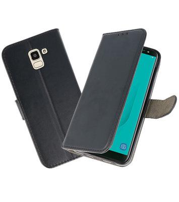 Zwart booktype wallet case Hoesje voor Samsung Galaxy J6 2018