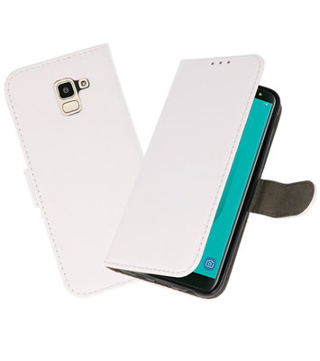 Wit booktype wallet case Hoesje voor Samsung Galaxy J6 2018