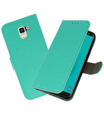 Groen booktype wallet case Hoesje voor Samsung Galaxy J6 2018