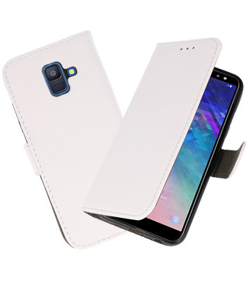 Wit booktype wallet case Hoesje voor Samsung Galaxy A6 2018