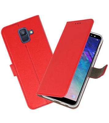 Rood booktype wallet case Hoesje voor Samsung Galaxy A6 2018