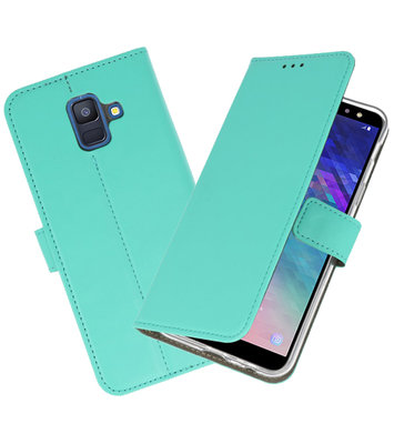 Groen booktype wallet case Hoesje voor Samsung Galaxy A6 2018