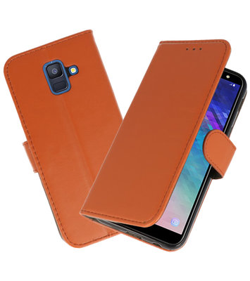 Bruin booktype wallet case Hoesje voor Samsung Galaxy A6 2018