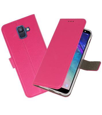 Roze booktype wallet case Hoesje voor Samsung Galaxy A6 2018
