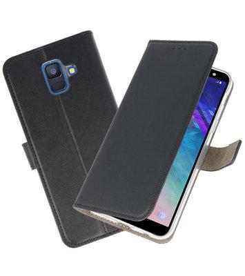 Zwart booktype wallet case Hoesje voor Samsung Galaxy A6 2018