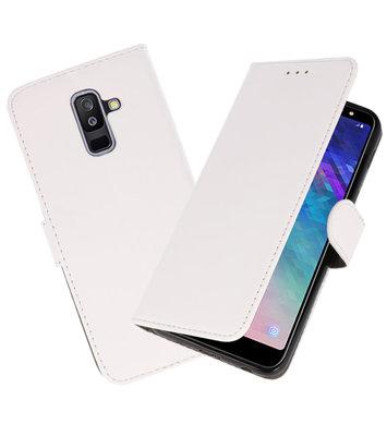 Wit booktype wallet case Hoesje voor Samsung Galaxy A6 Plus 2018