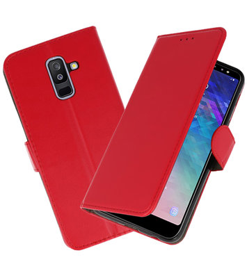 Rood booktype wallet case Hoesje voor Samsung Galaxy A6 Plus 2018