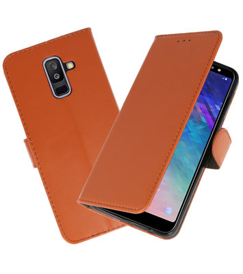 Bruin booktype wallet case Hoesje voor Samsung Galaxy A6 Plus 2018