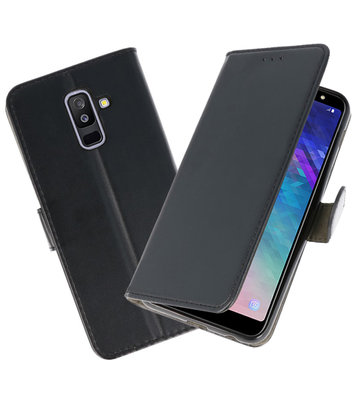 Zwart booktype wallet case Hoesje voor Samsung Galaxy A6 Plus 2018