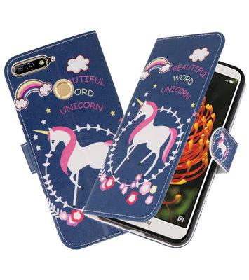 Blauw Unicorn booktype wallet case Hoesje voor Huawei Y6 2018