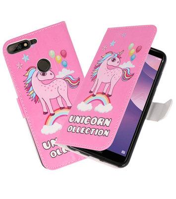 Roze Unicorn booktype wallet case Hoesje voor Huawei Y7 2018 / Y7 Prime 2018