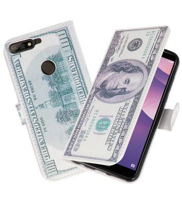 Dollar booktype wallet case Hoesje voor Huawei Y7 2018 / Y7 Prime 2018