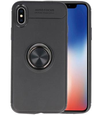 Zwart Zacht TPU met Ringhouder hoesje voor Apple iPhone X