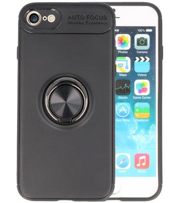 Zwart Zacht TPU met Ringhouder hoesje voor Apple iPhone 7 / 8