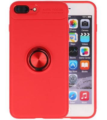 Rood Zacht TPU met Ringhouder hoesje voor Apple iPhone 7 Plus / 8 Plus