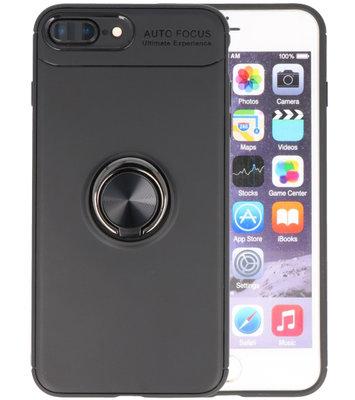 Zwart Zacht TPU met Ringhouder hoesje voor Apple iPhone 7 Plus / 8 Plus