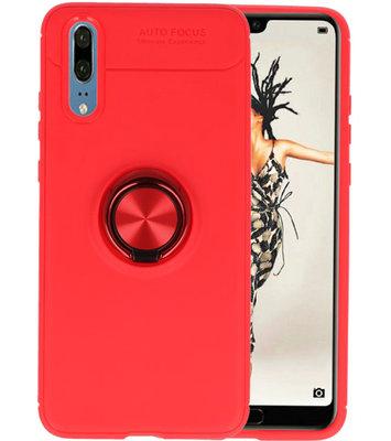 Rood Zacht TPU met Ringhouder hoesje voor Huawei P20