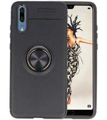 Zwart Zacht TPU met Ringhouder hoesje voor Huawei P20
