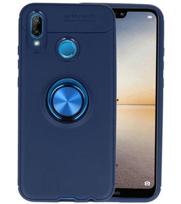 Navy Zacht TPU met Ringhouder hoesje voor Huawei P20 Lite