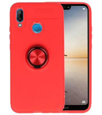 Rood Zacht TPU met Ringhouder hoesje voor Huawei P20 Lite
