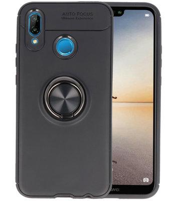 Zwart Zacht TPU met Ringhouder hoesje voor Huawei P20 Lite