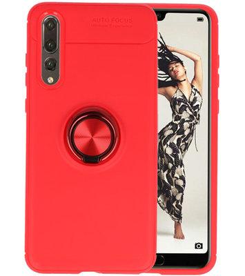 Rood Zacht TPU met Ringhouder hoesje voor Huawei P20 Pro