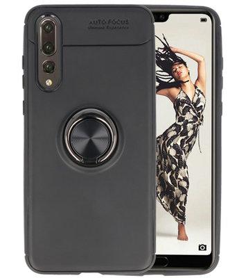 Zwart Zacht TPU met Ringhouder hoesje voor Huawei P20 Pro