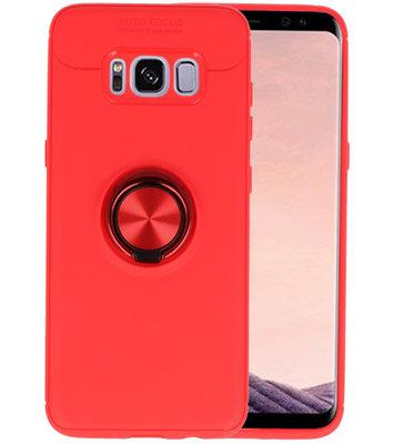 Rood Zacht TPU met Ringhouder hoesje voor Samsung Galaxy S8