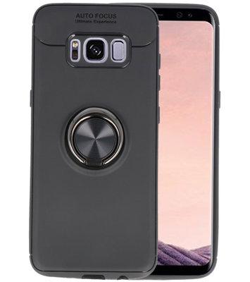 Zwart Zacht TPU met Ringhouder hoesje voor Samsung Galaxy S8