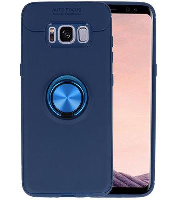 Navy Zacht TPU met Ringhouder hoesje voor Samsung Galaxy S9 Plus