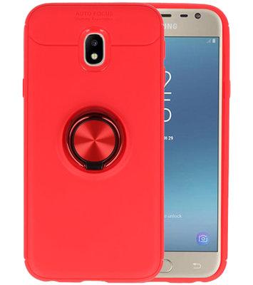 Rood Zacht TPU met Ringhouder hoesje voor Samsung Galaxy J3 2017