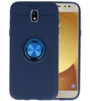 Navy Zacht TPU met Ringhouder hoesje voor Samsung Galaxy J5 2017