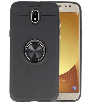 Zwart Zacht TPU met Ringhouder hoesje voor Samsung Galaxy J5 2017