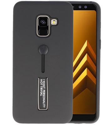 Zwart Stand Case hoesje voor Samsung Galaxy A8 2018