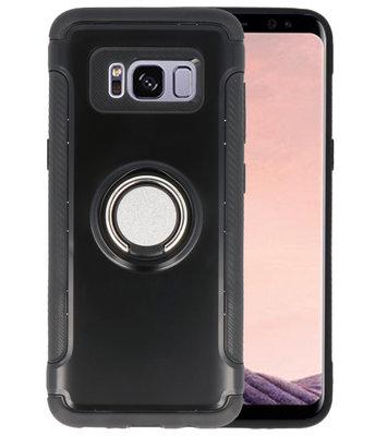 Zwart Pantser TPU met Ringhouder hoesje voor Samsung Galaxy S8