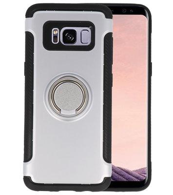Zilver Pantser TPU met Ringhouder hoesje voor Samsung Galaxy S8